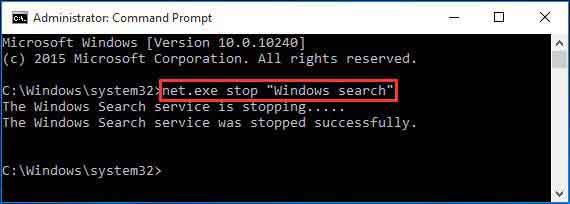 disable windows search to fix 100% disk usage-temporary