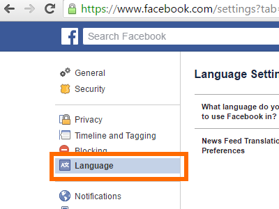 how to change fb language