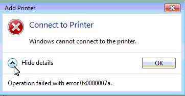 lỗi windows cannot connect to the printer 3