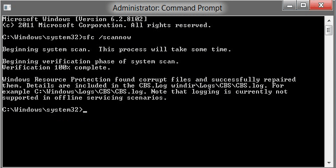 Dùng command prompt scan sfc windows detected a hard disk problem