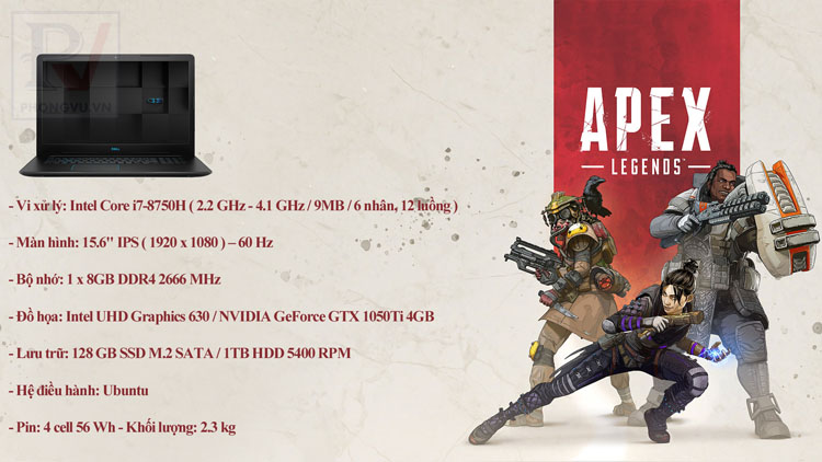 Top 5 Gaming Laptop chơi Apex Legends 2019, 25 triệu, Intel Core i7, Acer Nitro 5, Dell Inspiron G3, Asus TUF FX505GE, , Hp Pavilion Gaming 15, Msi GL63 8RD