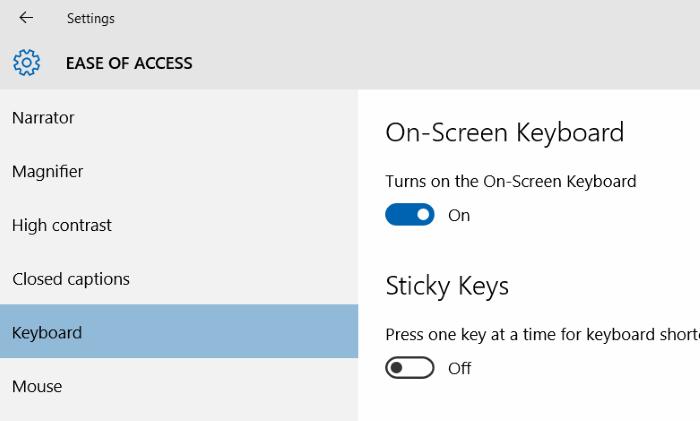mở bàn phím ảo On Screen Keyboard