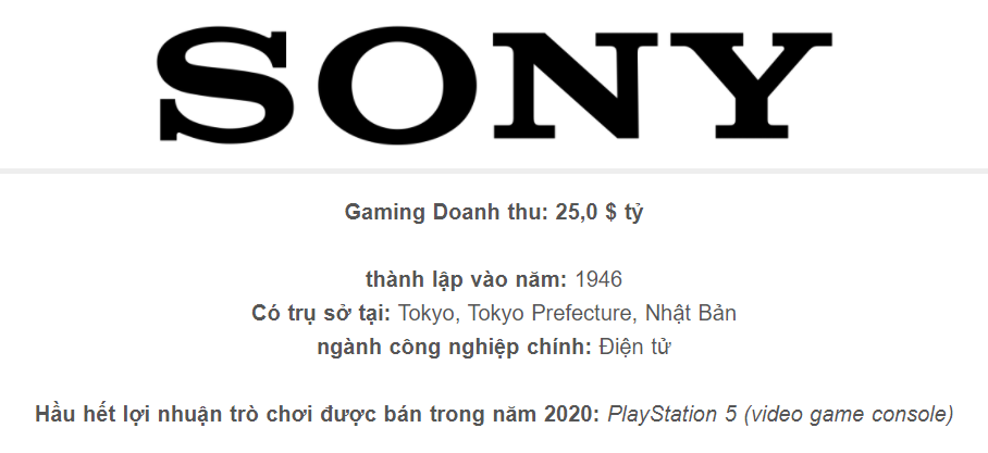 Sony - Top 5 Video Games Companies