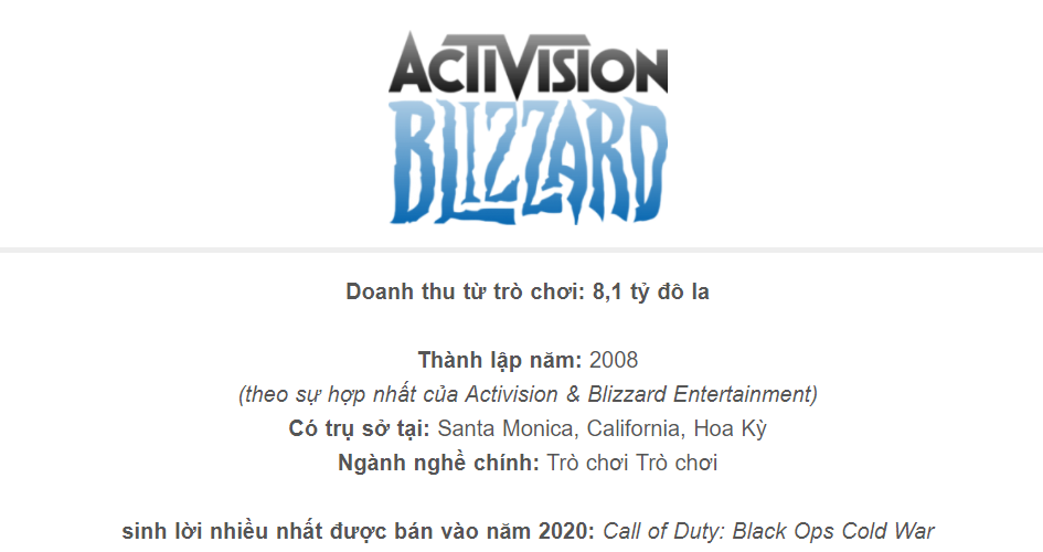 Activision Blizzard - Top 5 Video Games Companies