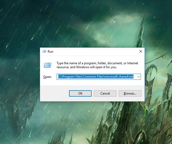 mở C:\Program Files\Common Files\microsoft shared\ink