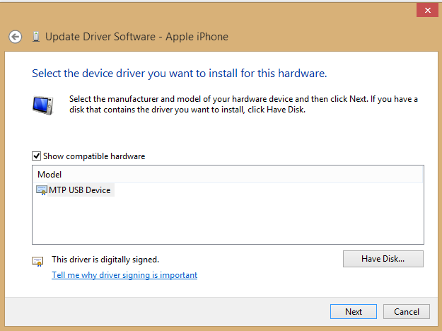 Browse My Computer for Driver Software > Let Me Pick From a List of Device Drivers on My Computer > Have Disk.