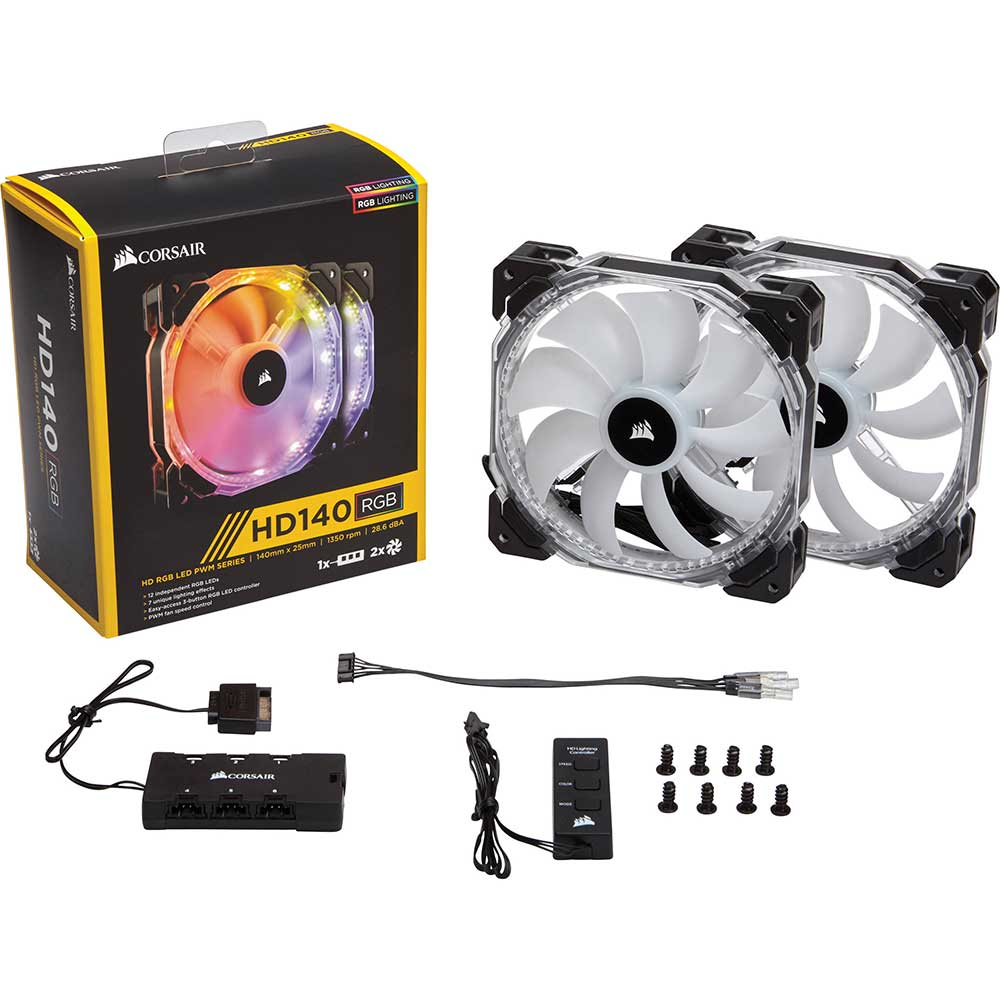 Quạt Case Corsair Fan Hd 140 Rgb Led (2 Fan + Controller) (co-9050069-ww)