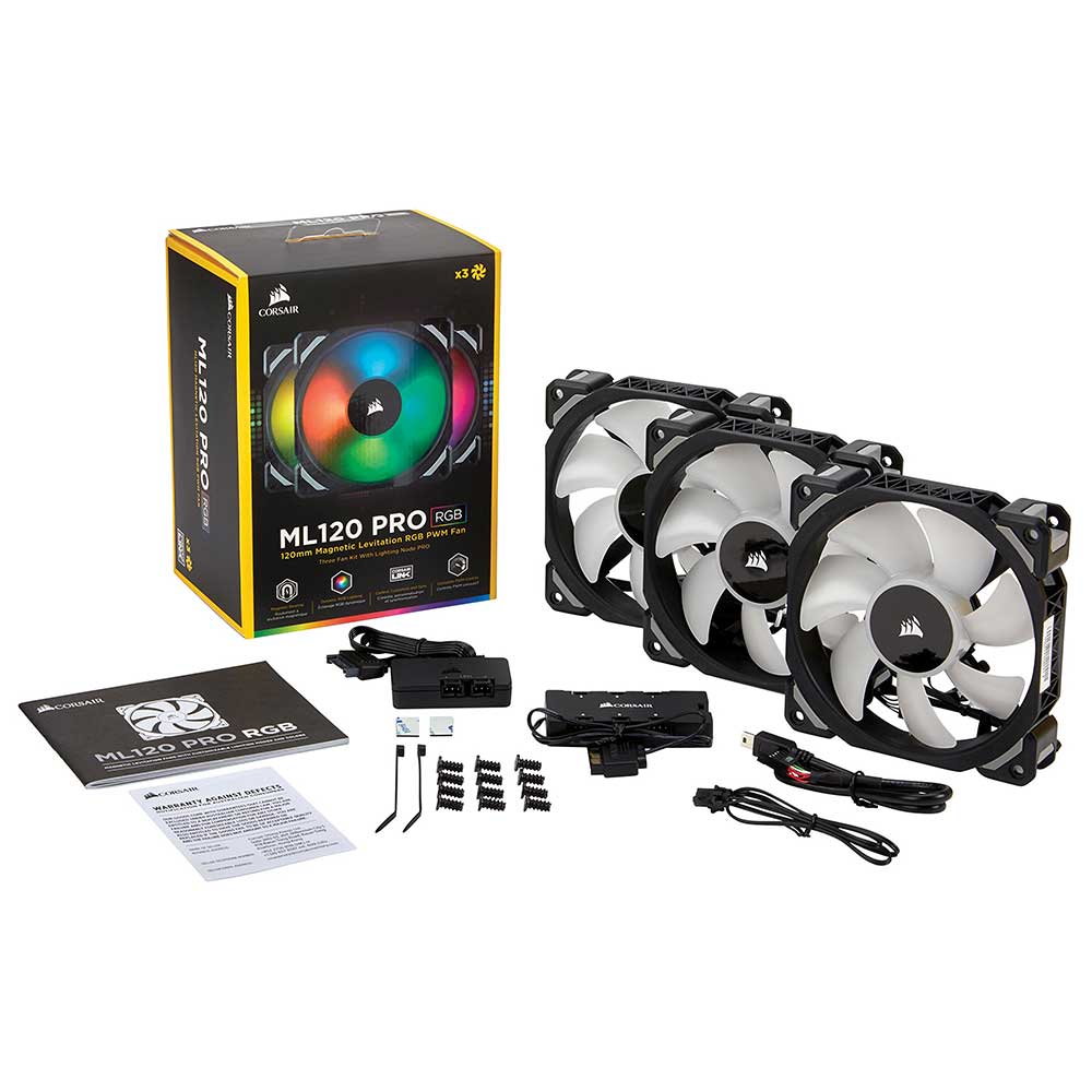 Quạt Case Corsair Ml140 Rgb (2 Fan + Led Corsair Lighting Node Pro) (co-9050078-ww)