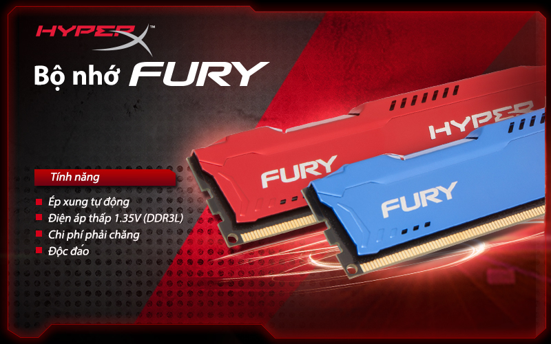 Bộ nhớ DDR3 Kingston 4GB (1600) Hyper X Fury